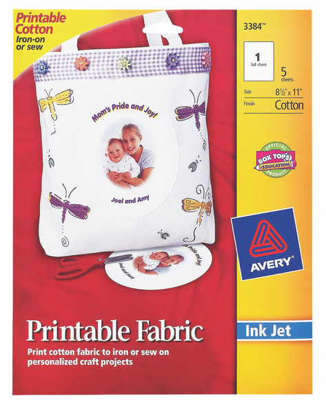 "Avery (3384) Ink Jet Printing Fabric Paper - 8.5""x11"" - 5 Sheets"