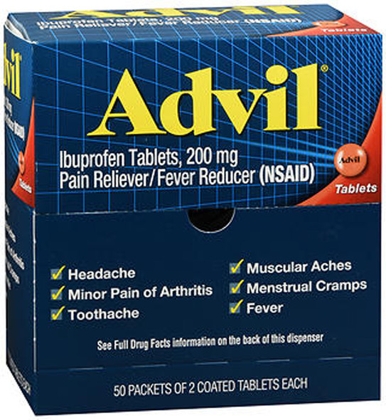 Advil Ibuprofen Coated Tablets - (2X50) 100 ct