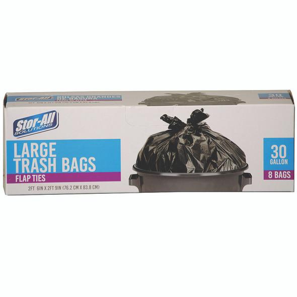 Large Trash Bags w/Flap Ties, 30Gal, 8ct
