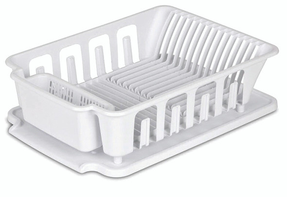Sterilite 2-piece Large Sink Set Dish Rack Drainer, White