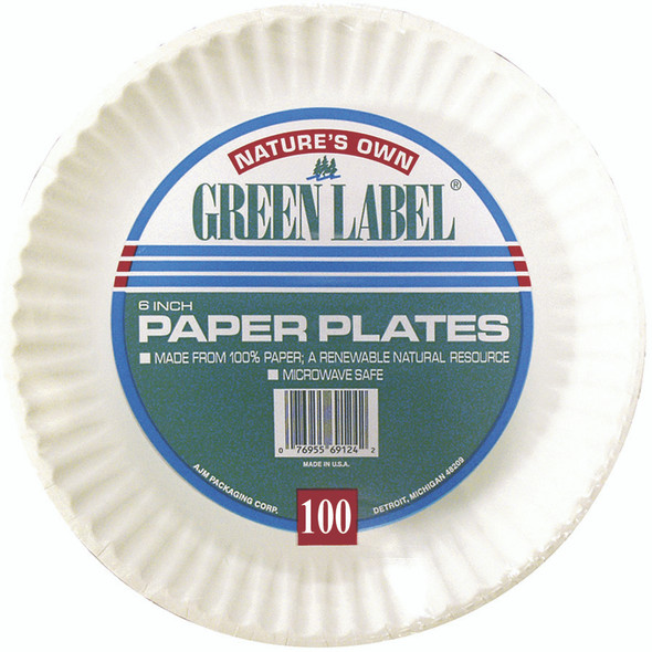 """Green Label Paper Plate, 6"""" White, 100 ct"""