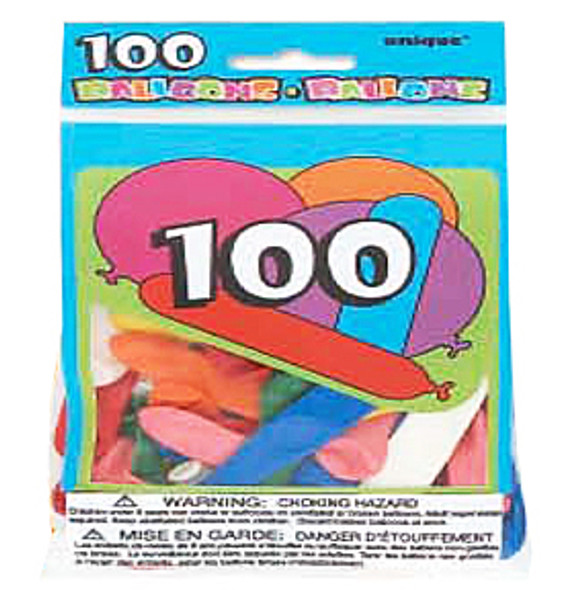 Assorted Shape & Size Latex Balloons, 100ct