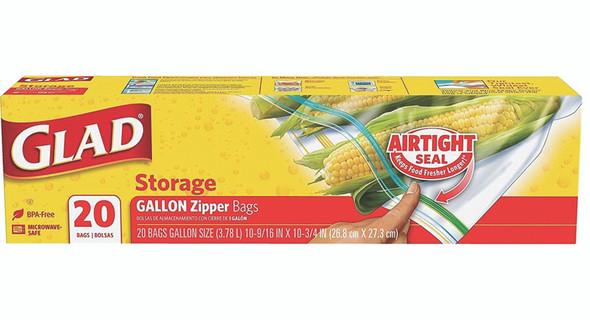 Glad Food Storage Zipper, Gallon, 20 ct