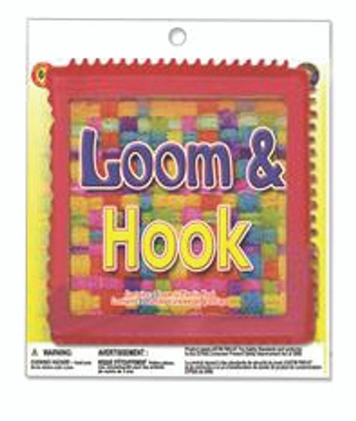 Pepperell Braiding Plastic Square Loop Weaving Loom with Hook, 7-1/4 x 7-1/4 Inches