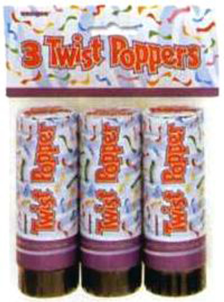 Twist Party Poppers, Party Favors, 3 pk