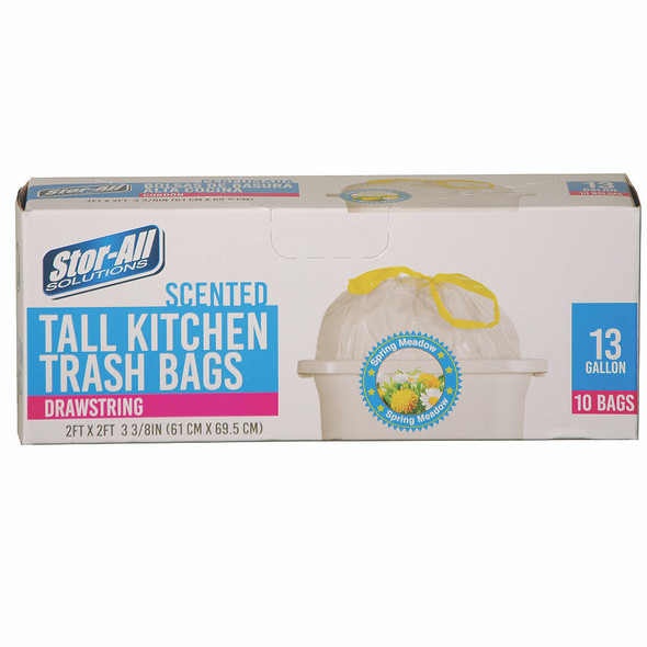 Scented Tall Kitchen Trash Bags w/Drawstring, 13Gal, 10ct