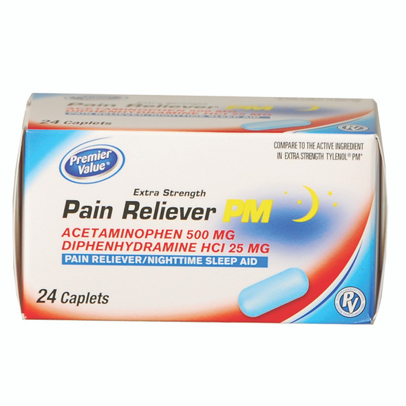 Premier Value Pain Reliver PM Caplets, 500mg, 24ct