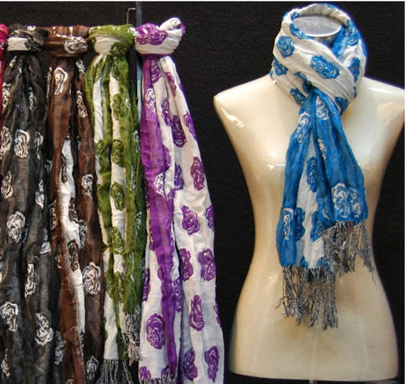Rose Print Scarf, Assorted