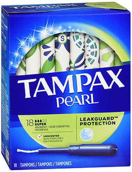 Tampax Pearl Tampons, Plastic Applicator, Super Absorbency - 18 ea.