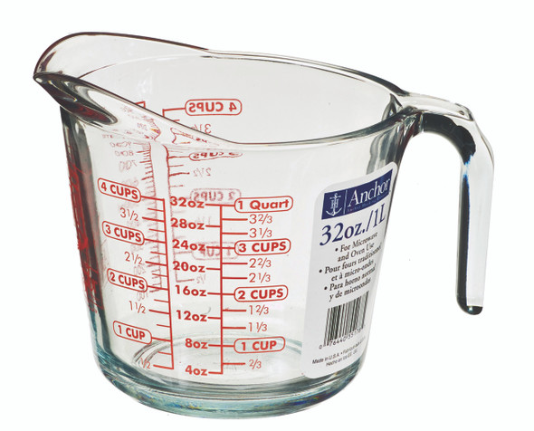 Anchor Hocking Measuring Cup, Glass, 1 qt