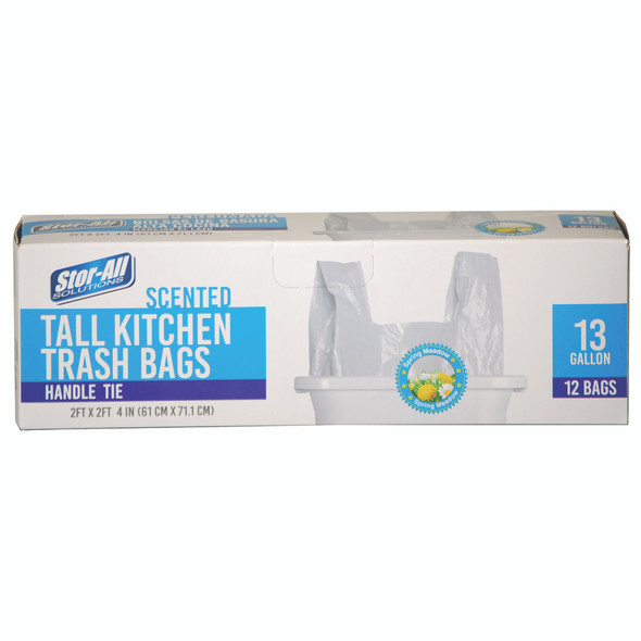 Scented Tall Kitchen Trash Bags w/Handle Tie, 13 Gal, 12ct