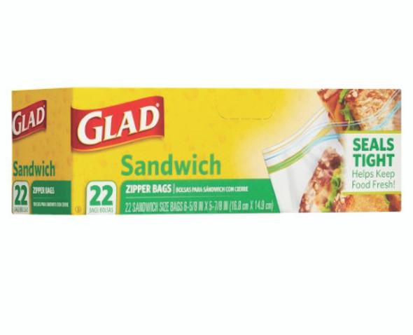 Glad Food Storage Zipper, Sandwich, 22ct