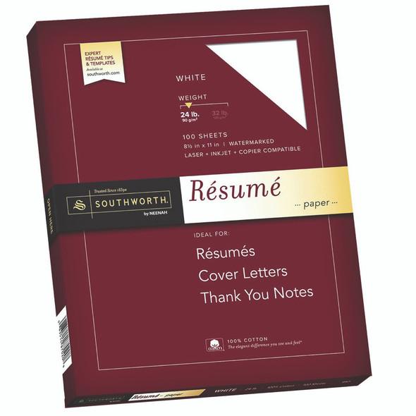 "Southworth Resume Paper 8.5x11"" White, 100ct, 24lb"