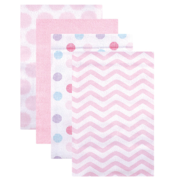 """Luvable Friends 28x28"""" Cotton Flannel Receiving Blankets, Pink Dots 4-Pack, One Size"""