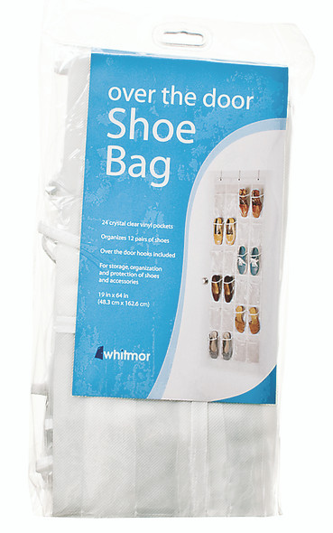 Whitmor Over The Door 12 Pair - 24 Oversized Pocket Shoe Bag, Clear/ White