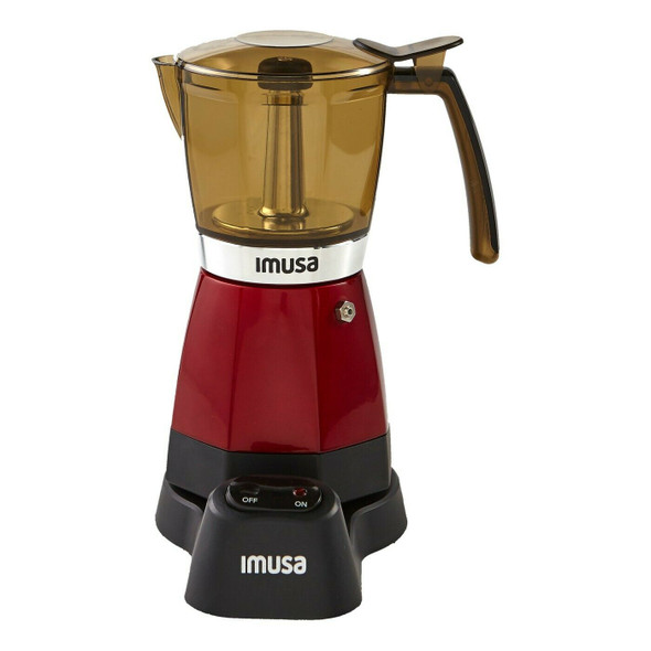 IMUSA Electric Espresso Maker Metallic Red/3-6 Cup