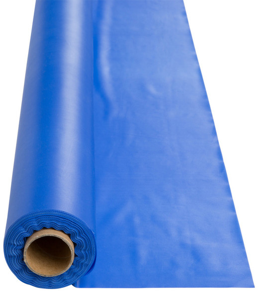 Solid Plastic Tablecover 100' Roll,Cobalt Blue