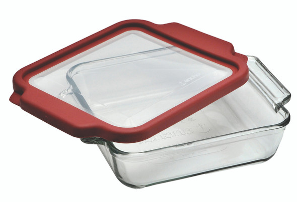 Anchor Hocking 8-Inch Square Glass Baking Dish with Cherry TrueFit Lid