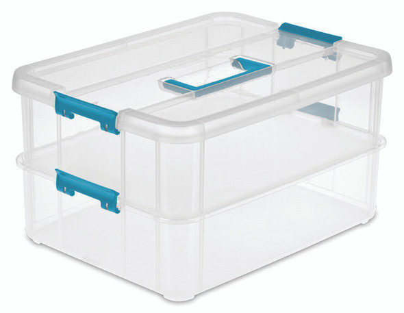 Sterilite Stack N Carry 2 Layer Handle Box And Tray