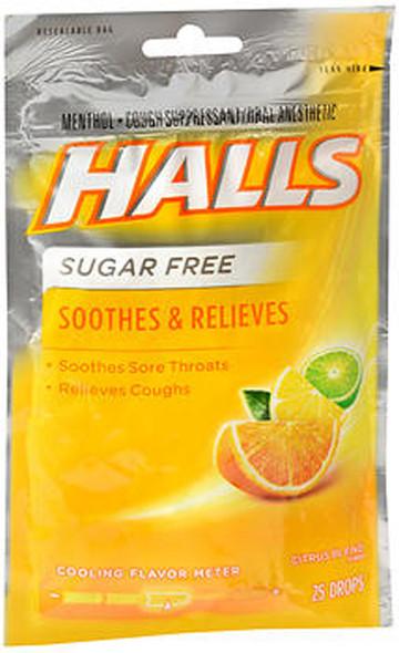 Halls Mentho-Lyptus Drops Sugar Free Citrus Blend - 25 ct