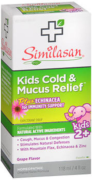Similasan Kids Cold & Mucus Relief plus Echinacea for Immunity Support Syrup Grape Flavor - 4 oz
