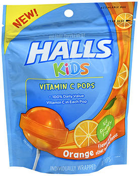 Halls Kids Vitamin C Pops Orange - 10 ct