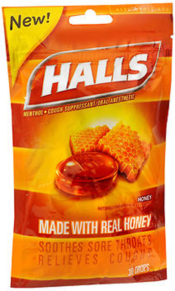 Halls Cough Suppressant/Oral Anesthetic Drops Honey - 30 ct