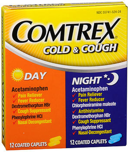 Comtrex Cold & Cough Coated Caplets Day/Night - 24 ct