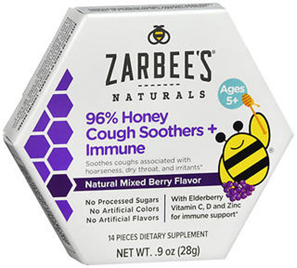 Zarbee's Naturals 96% Honey Cough Soothers + Immune Natural Mixed Berry Flavor - 14 ct