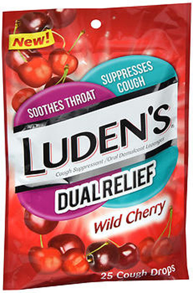 Luden's Dual Relief Cough Drops Wild Cherry - 25 ct