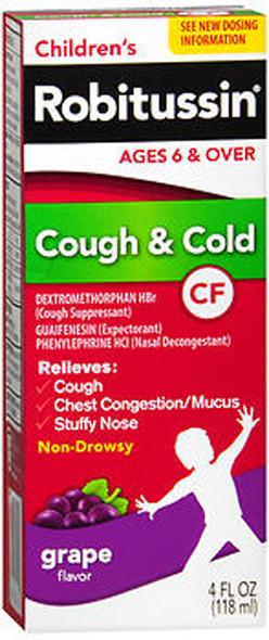 Robitussin CF Children's Cough Cold Liquid Grape Flavor - 4 oz