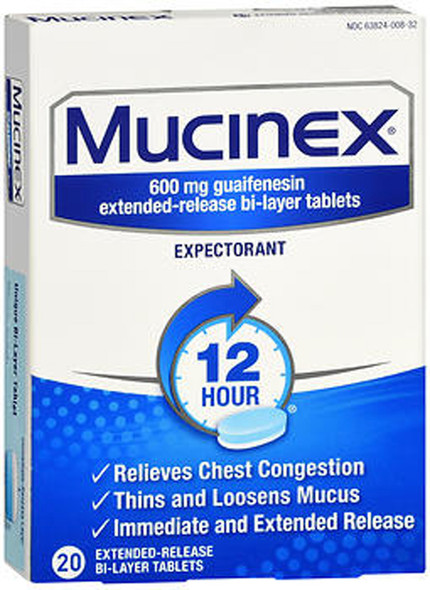Mucinex Expectorant Extended-Release Bi-Layer Tablets, 600 mg - 20 Ct.