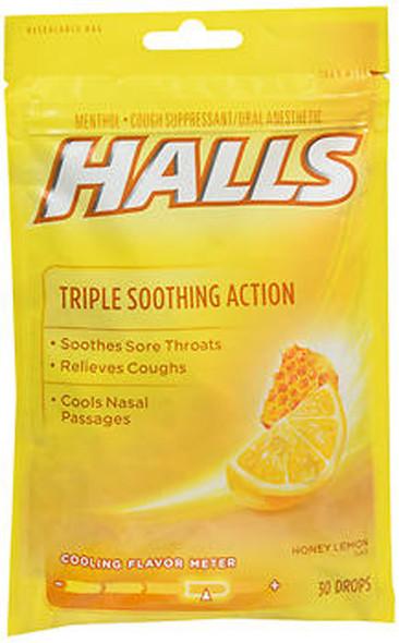 Halls Mentho-Lyptus Drops Honey-Lemon - 30 ct