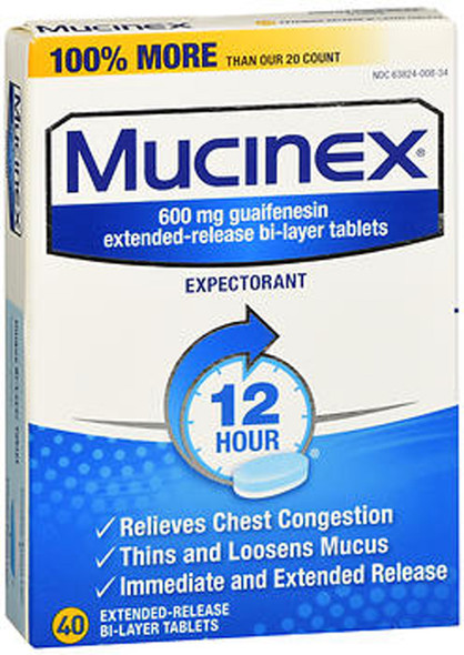 Mucinex Expectorant Tablets - 40 Tablets