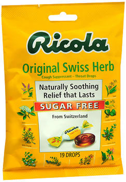 Ricola Sugar Free Throat Drops Original Swiss Herb - 19 ct