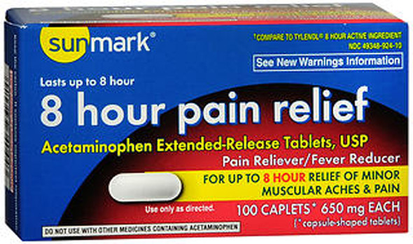 Sunmark 8 Hour Pain Relief 650mg Caplets - 100 ct
