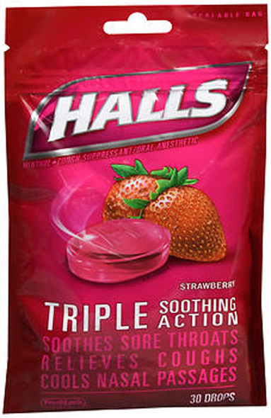 Halls Menthol Cough Suppressant Oral Anesthetic Drops Strawberry - 30 ct