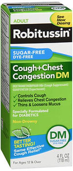 Robitussin Adult Cough + Chest Congestion DM Liquid Sugar-Free - 4 oz