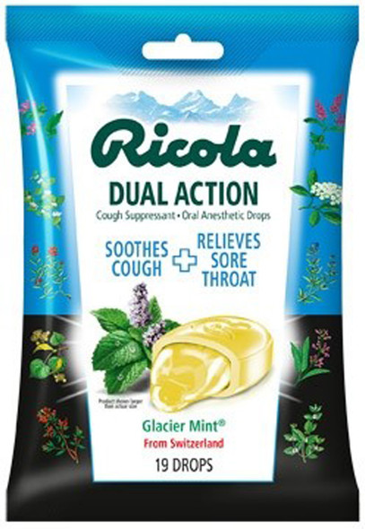 Ricola Cough Suppressant Drops Glacier Mint - 19 ct