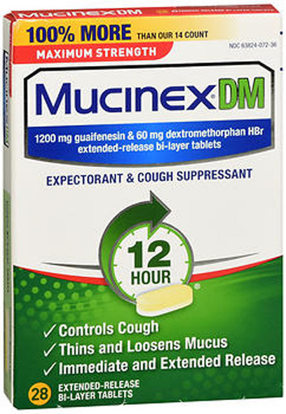 Mucinex DM Expectorant & Cough Suppressant Extended-Release Bi-Layer Tablets Maximum Strength - 28 ct