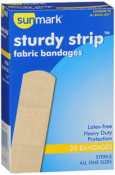Sunmark Sturdy Strip Fabric Bandages All One Size - 20 ct