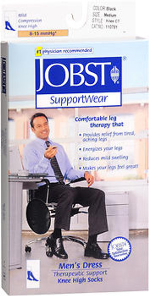 Jobst Men's Compression Socks - Medium - Black - 1 Pair