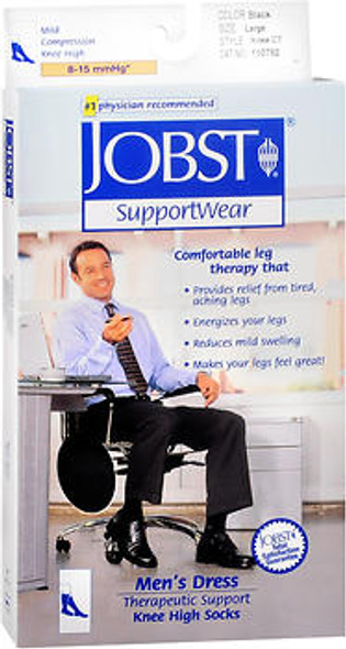 JOBST SupportWear Socks Men's Dress Knee High Mild Compression 8-15mmHg Black Large Close-Toe - 1 Pair