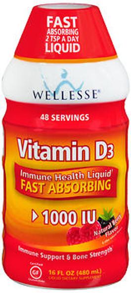 Wellesse Vitamin D3 1000 IU Liquid Natural Berry Flavor - 16 oz