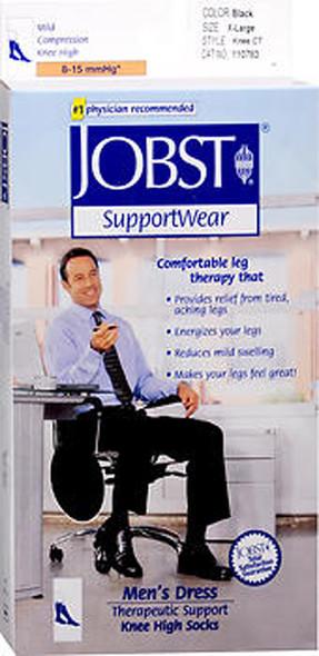 JOBST SupportWear Socks Men's Dress Knee High Mild Compression 8-15mmHg Black X-Large Close-Toe- 1 Pair