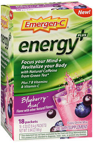 Emergen-C Energy+ Fizzy Drink Mix Packets Blueberry-Acai - 18 packets