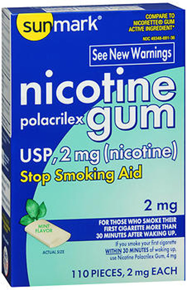 Sunmark Nicotine Polacrilex Gum 2 mg Mint Flavor - 110 ct