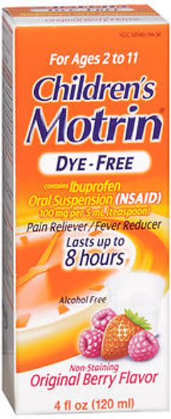 Motrin Children's Ibuprofen Oral Suspension Dye-Free Original Berry - 4 oz