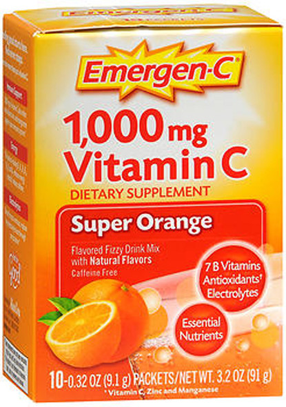 Emergen-C 1,000mg Vitamin C Super Orange Flavored Fizzy Drink Mix Packets - 10 packets