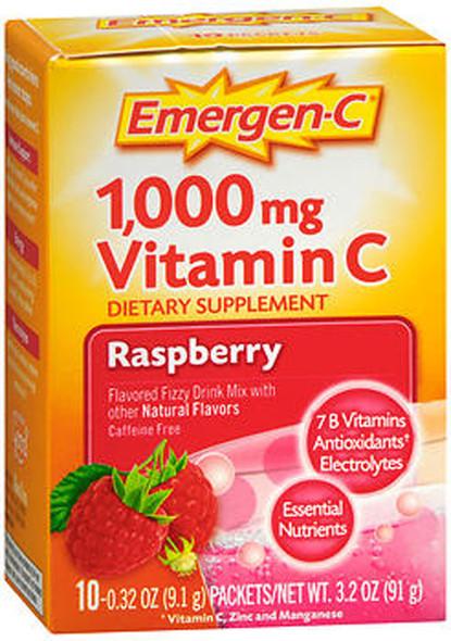 Emergen-C 1,000 mg Vitamin C Fizzy Drink Mix Packets Raspberry Flavored - 10 ct